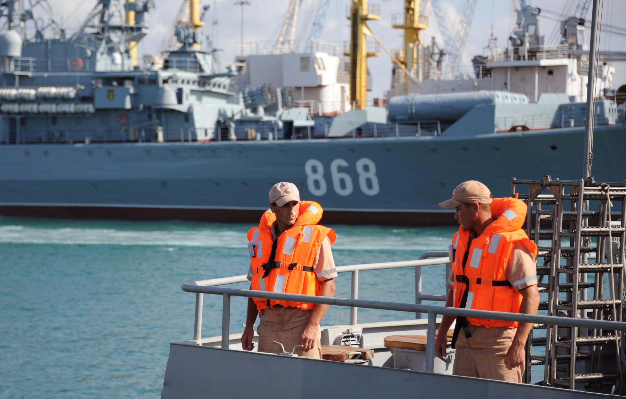 جنود من البحرية الروسية في طرطوس (فرانس برس)