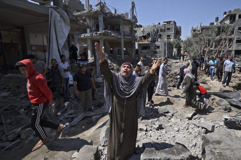 من القصف الإسرائيلي على غزة 14 مايو 2021- فرانس برس