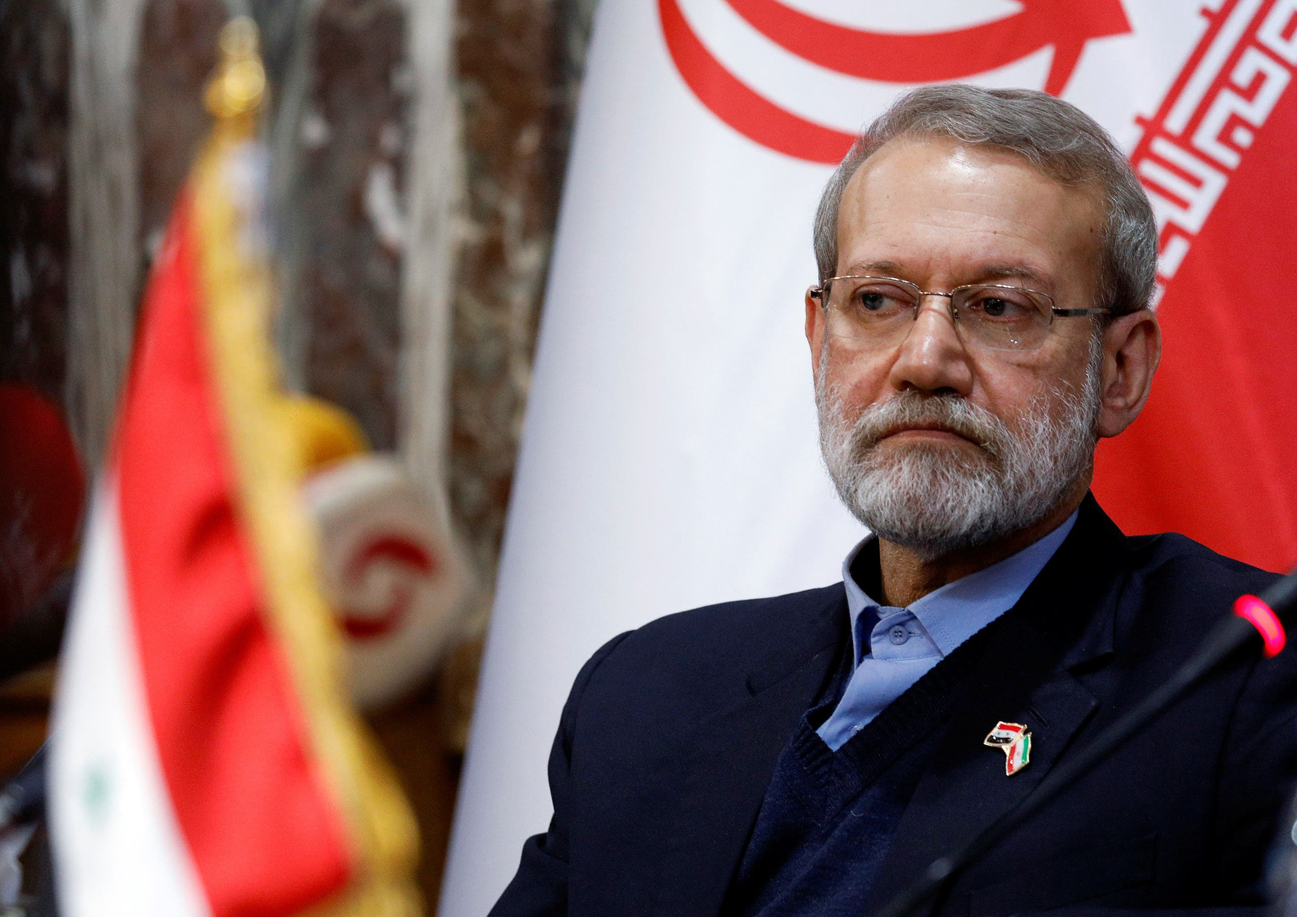 Iranian parliament speaker Ali Larijani attends a news conference in Damascus, Syria February 16, 2020. (Reuters)