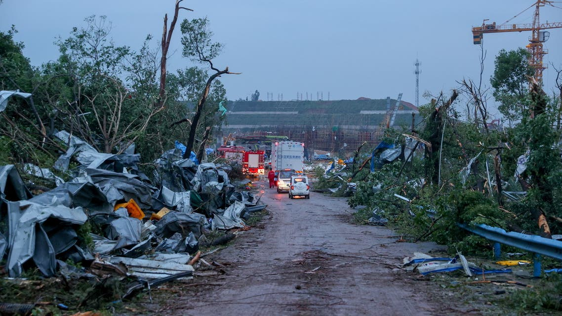 Debris lay by the side of a road after a tornado ripped through Caidian district of Wuhan, Hubei province, China May 15, 2021. (Reuters)