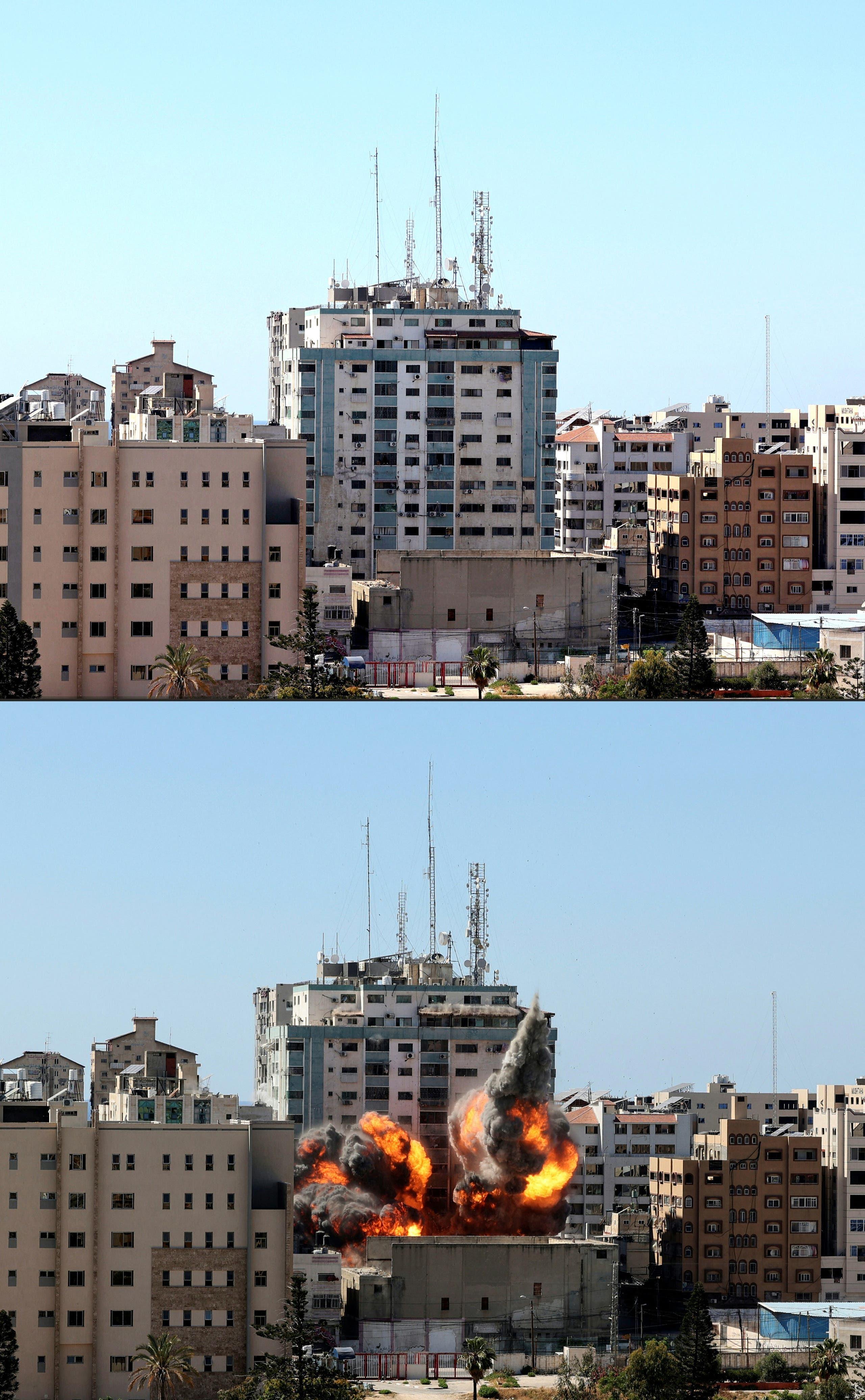 برج الجلاء في غزة الذي يحوي مكاتب اعلامية وصحفية قصفته إسرائيل ودمرته بالكامل 15 مايو 2021 رويترز