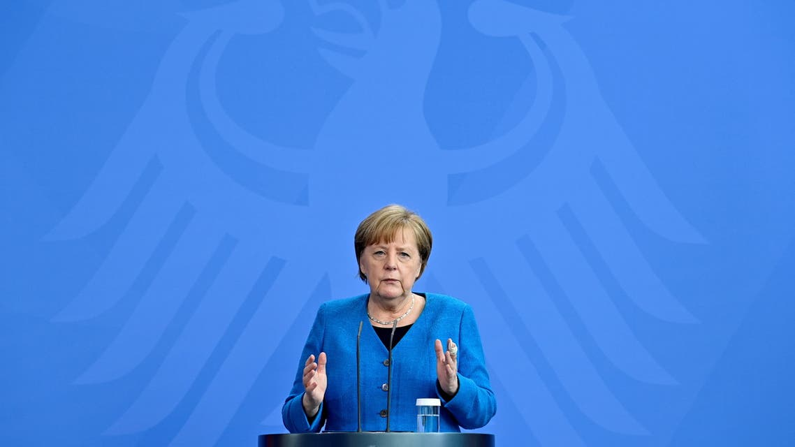 German Chancellor Angela Merkel speaks during a news conference in Berlin, Germany May 8, 2021. (Reuters)