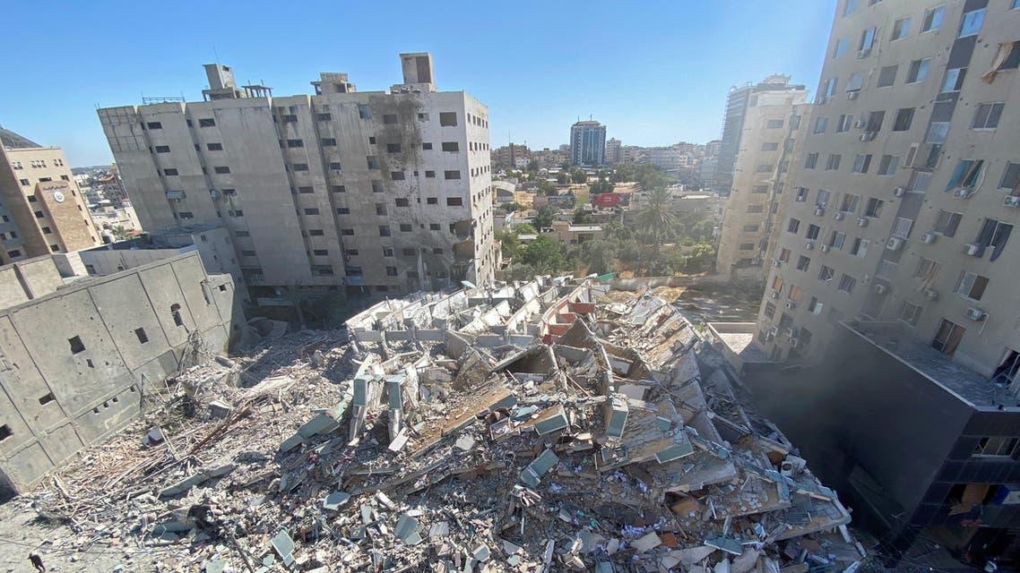برج الجلاء في غزة الذي يحوي مكاتب صحفية قصفته إسرائيل ودمرته بالكامل 15 مايو 2021 فرانس برس