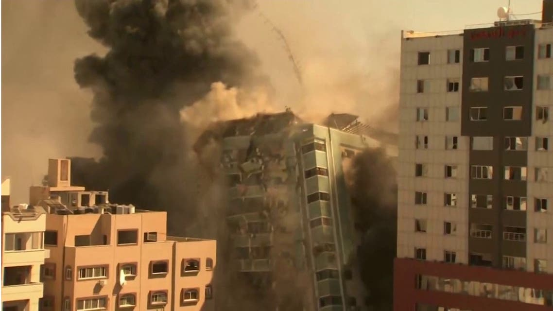 An Israeli airstrike has flattened a high-rise building housing the Associated Press and other media offices in Gaza City on May 15, 2021. (Screengrab)