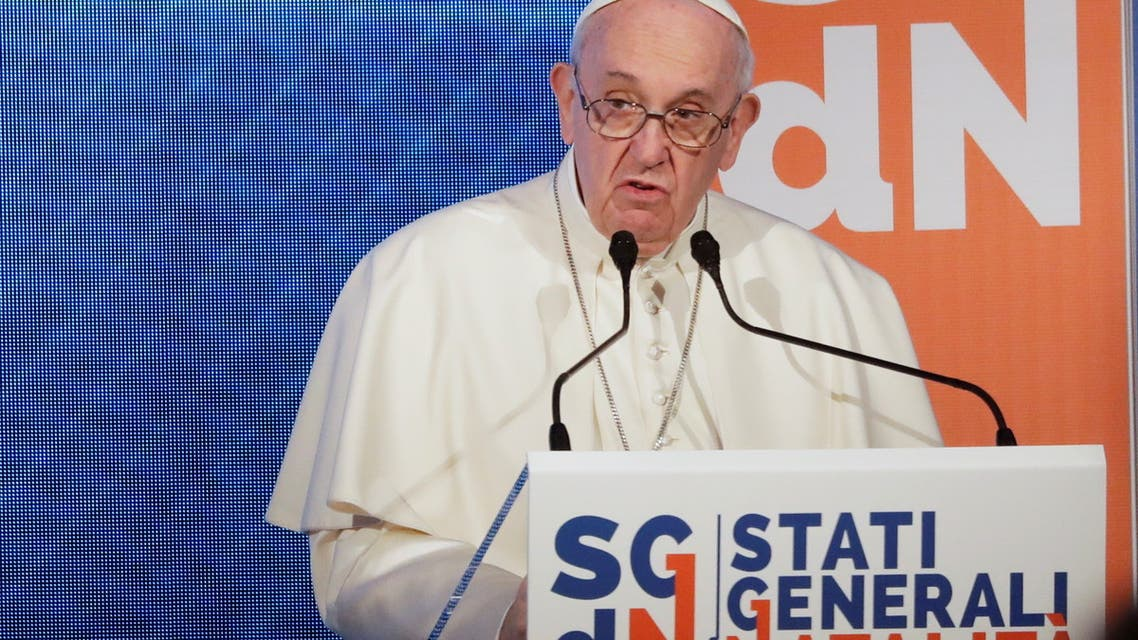 Pope Francis speaks at a conference on the Demographic Crisis in Rome, Italy May 14, 2021. (Reuters)