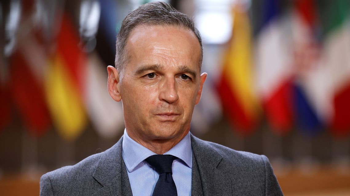 German Foreign Minister Heiko Maas speaks with the media as he arrives for an EU foreign ministers meeting at the European Council building in Brussels, Belgium May 10, 2021. Olivier Matthys/Pool via REUTERS
