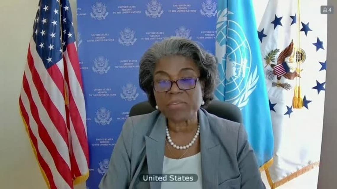 A screengrab shows US ambassador to the United Nations Linda Thomas-Greenfield speaking during the UNSC virtual session on the Israeli-Palestinian conflict, May 16, 2021. (Reuters)