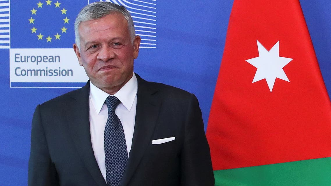 Jordan's King Abdullah II ibn Al Hussein reacts while meeting with European Commission President Ursula von der Leyen (not pictured) in Brussels, Belgium May 5, 2021. REUTERS/Yves Herman/Pool