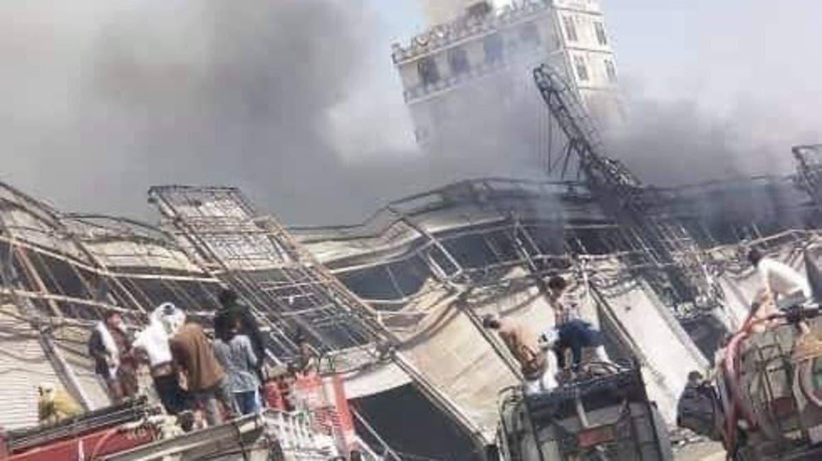 فيديو.. حريق هائل يلتهم مركزاً تجارياً في صنعاء