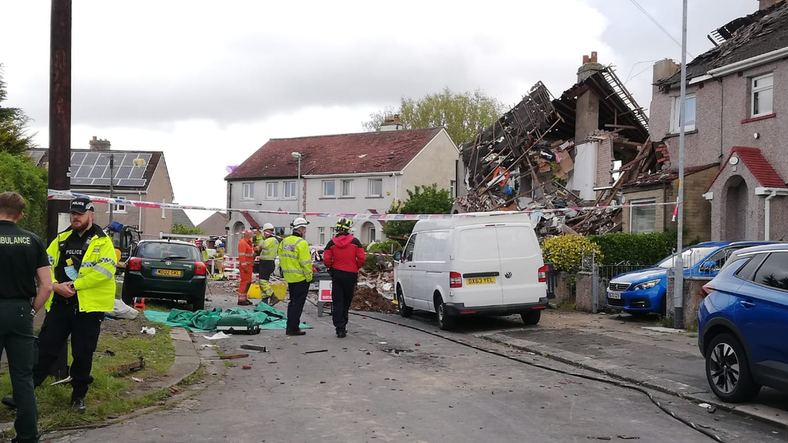 Photos from the scene of an explosion that took place in Heysham, Lancashire, northwest England where a child died and several others were injured. (Twitter)