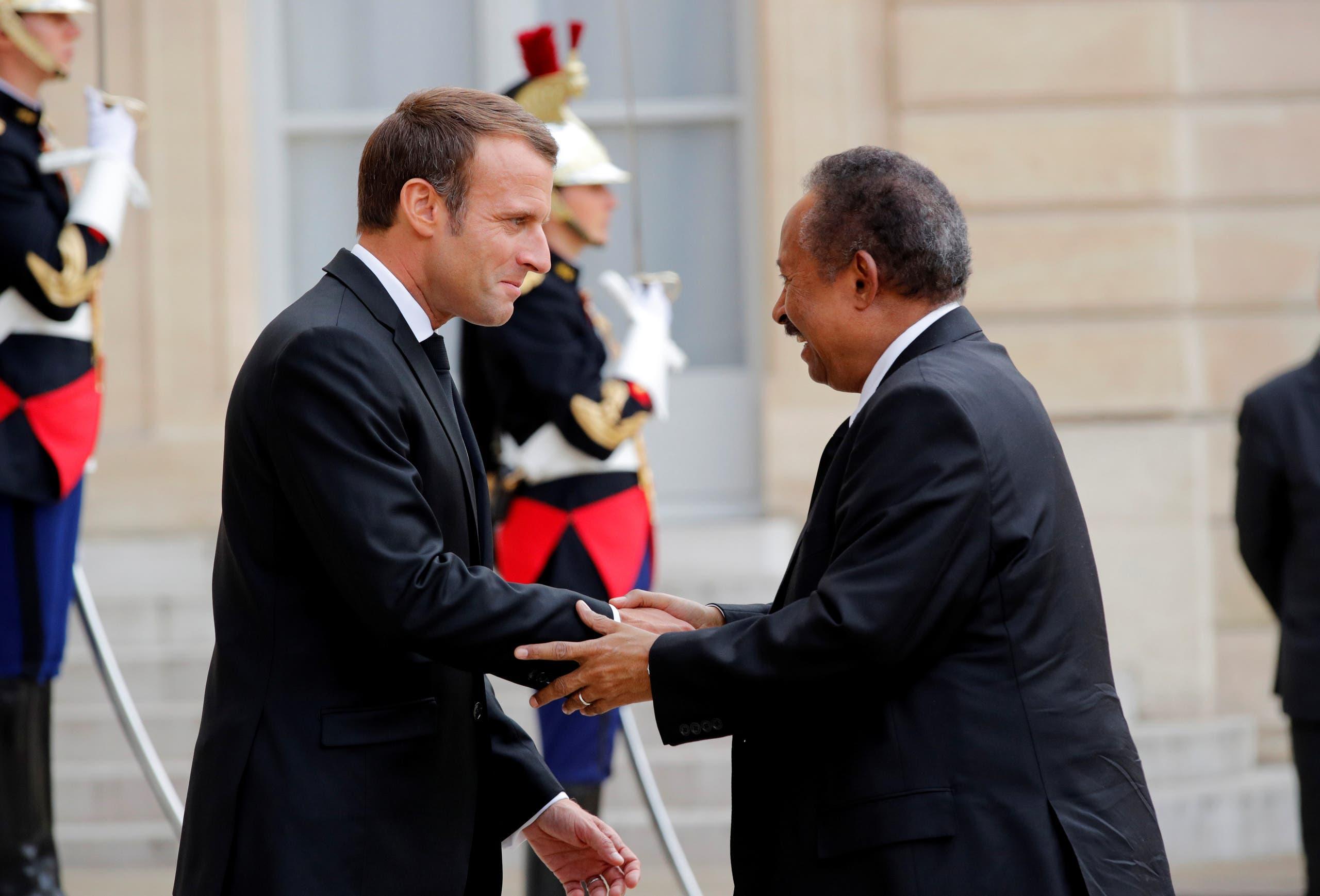 ماكرون يستقبل حمدوك في باريس في سبتمبر 2019