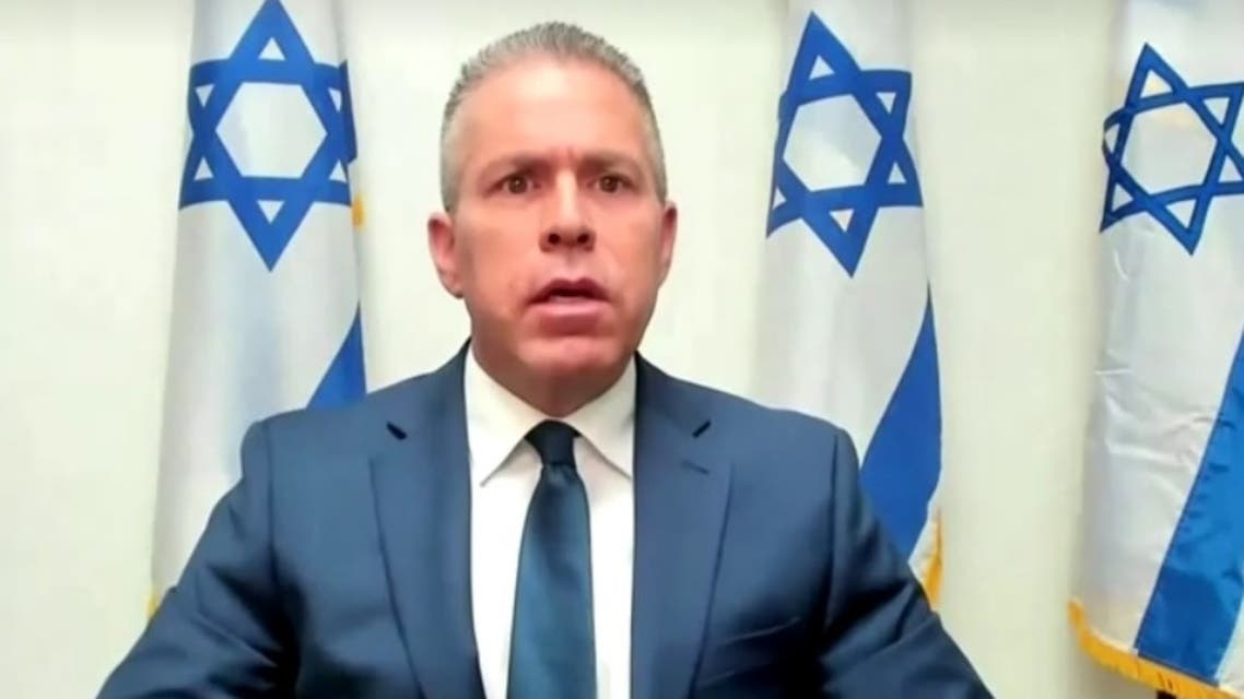 A screengrab from a video by Reuters shows Israel envoy Gilad Erdan during the UNSC virtual session on the Israeli-Palestinian conflict, May 16, 2021. (Reuters)