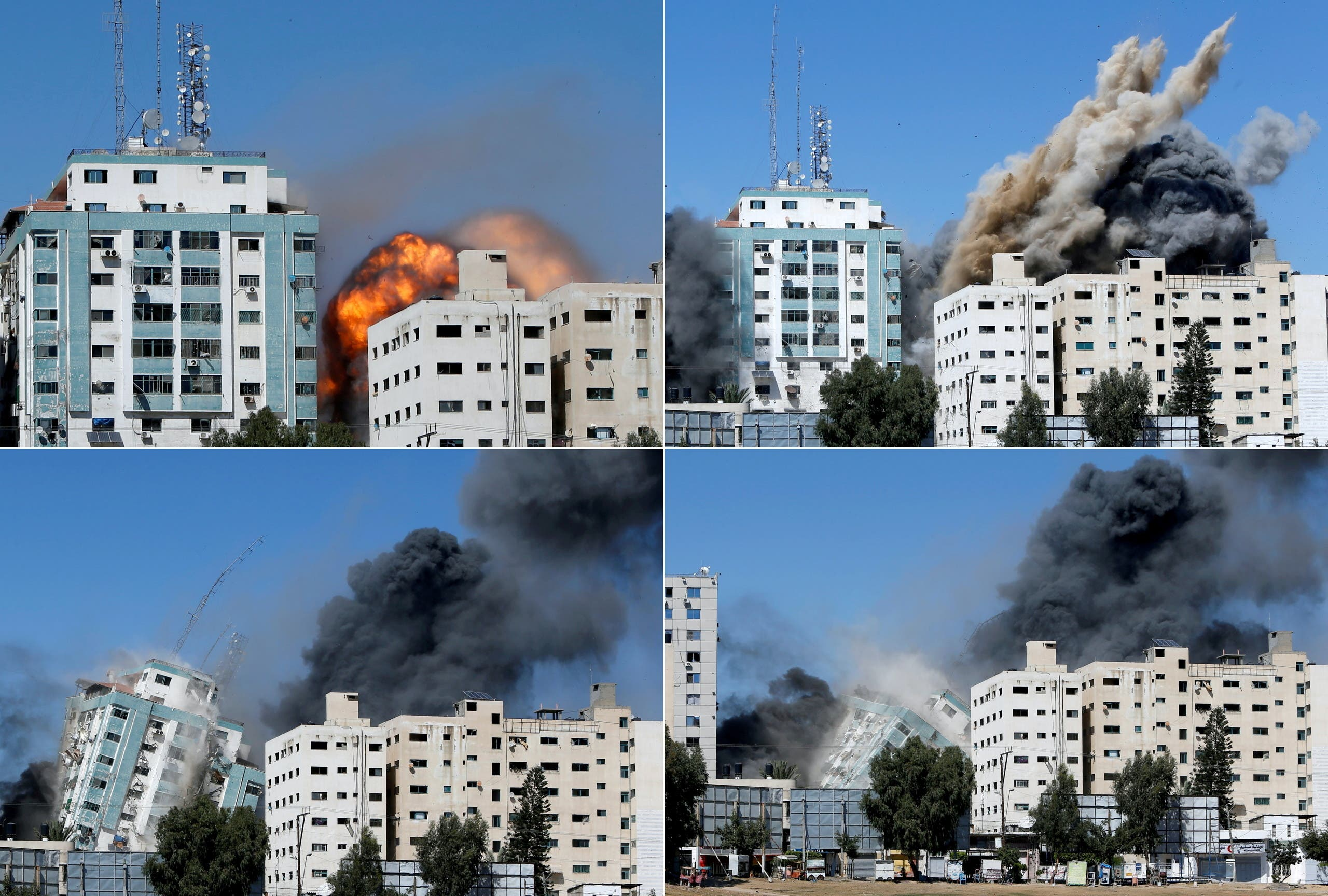 Combination picture shows a tower building housing AP, Al Jazeera offices collapsing after it was destroyed by Israeli air strikes in Gaza. (Reuters)