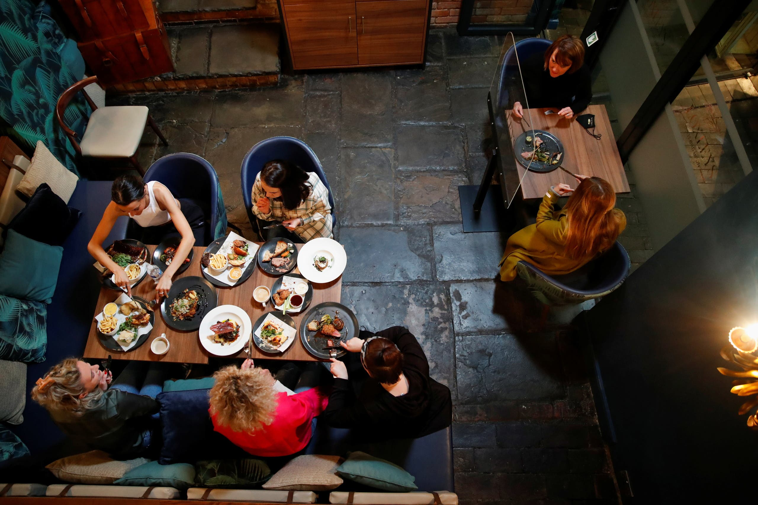 Staff at Loxley's Restaurant & Wine Bar take part in a new menu tasting and training before reopening on Monday 17th, as coronavirus disease (COVID-19) restrictions continue to ease, in Stratford Upon Avon, Britain, May 14, 2021. (Reuters)