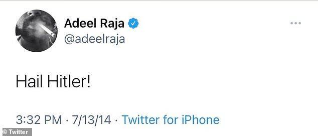 تغريدة سابقة لرجا يمجّد فيها هتلر