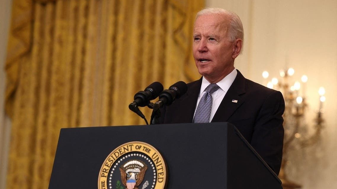 US President Joe Biden gives an update on his administration's COVID-19 response and vaccination program in the East Room of the White House on May 17, 2021 in Washington, DC. (AFP)