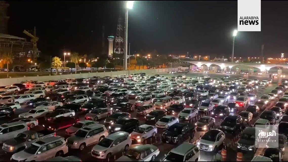 Hundreds of cars line up ahead of the reopening of the King Fahd Causeway bridge linking Saudi Arabia with Bahrain. (Al Arabiya)