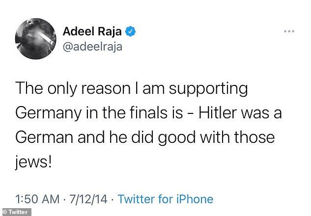 تغريدة رجا خلال نهائيات كأس العالم لكرة القدم عام 2014،