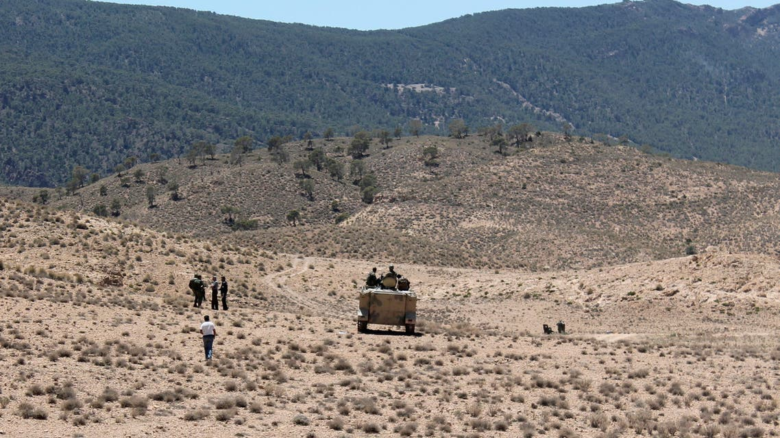 Tunisian soldiers patrol near the border with Algeria as seen from the area of Mount Chambi, west Tunisia June 11, 2013. (Reuters)