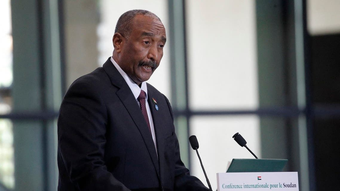 Sudan's President Abdel Fattah Al-Burhan speaks during a session of the international conference on Sudan which aims to provide financing breathing room for its Prime Minister as he pursues economic reforms in Paris on May 17, 2021. (AFP)