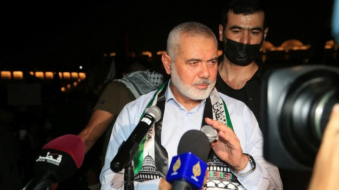 Palestinian group Hamas' top leader, Ismail Haniyeh speaks during a protest to express solidarity with the Palestinian people amid a flare-up of Israeli-Palestinian violence, in Doha, Qatar May 15, 2021. (Reuters)