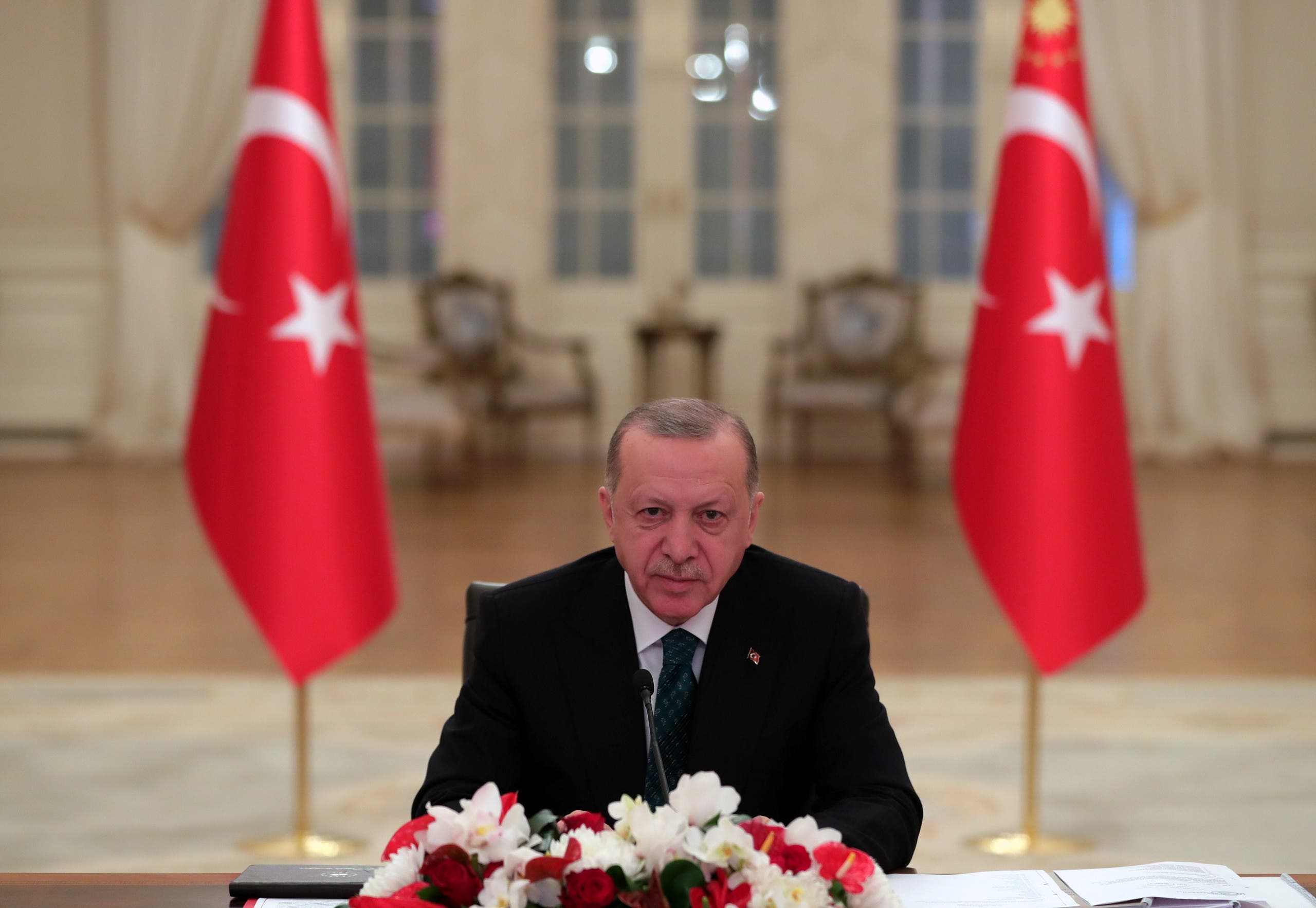 Turkish President Tayyip Erdogan attends a Climate Summit video conference at the Presidential Palace in Ankara, Turkey, April 22, 2021. (File photo: Reuters)