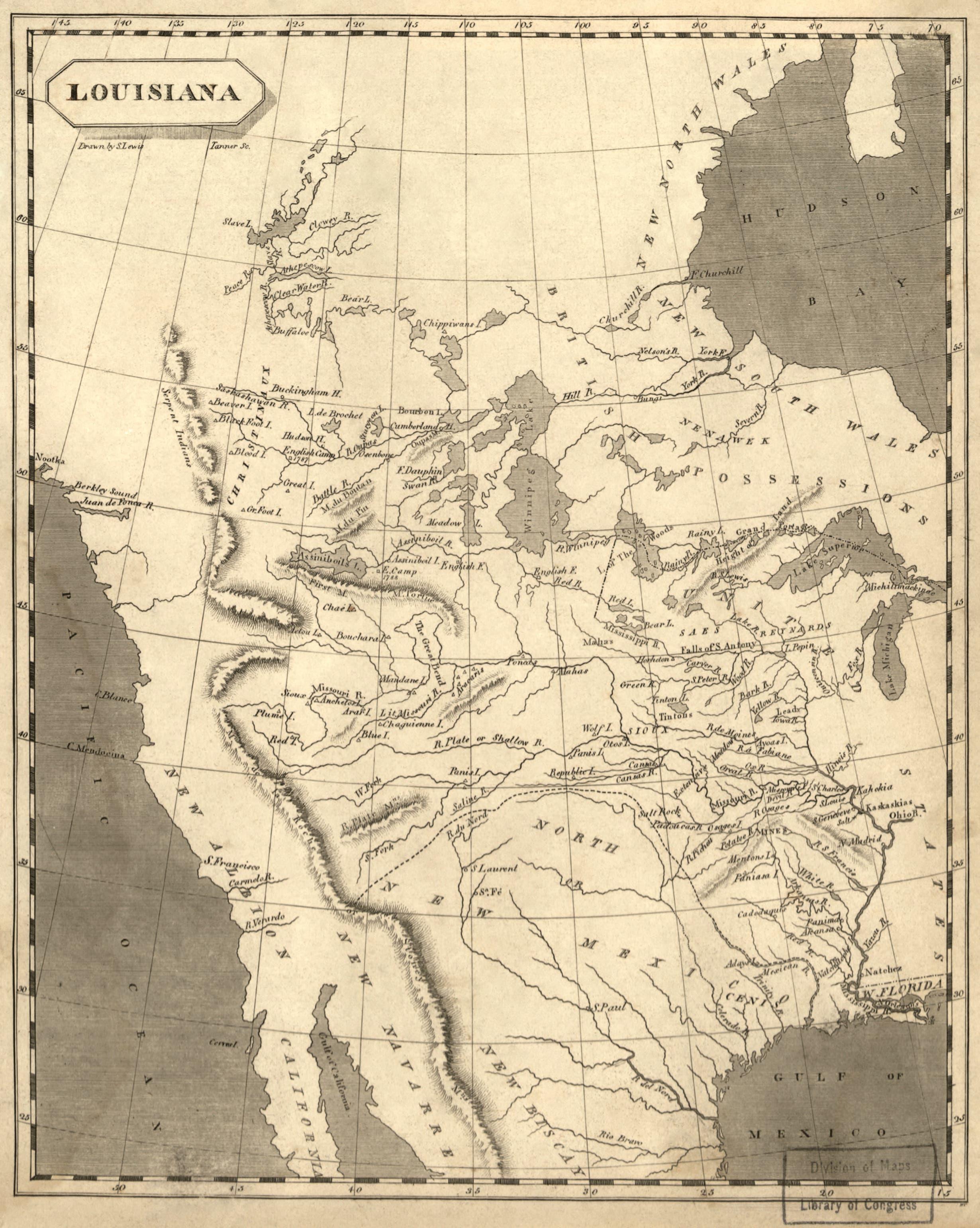 خريطة تجسد مناطق لويزيانا