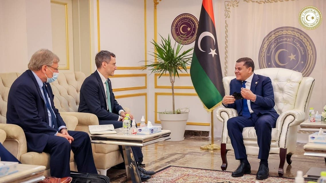 US Acting Assistant Secretary of State for Near Eastern Affairs Joey Hood meets with Libyan PM Abdulhamid Dbeibeh, in Tripoli, Libya May 18, 2021. (Reuters)