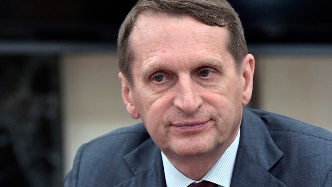 Sergei Naryshkin, head of the Russian Foreign Intelligence Service attends a meeting of the Commission for Military Technical Cooperation with Russian President Vladimir Putin in the Kremlin in Moscow, Russia, Monday, June 24, 2019. (AP)
