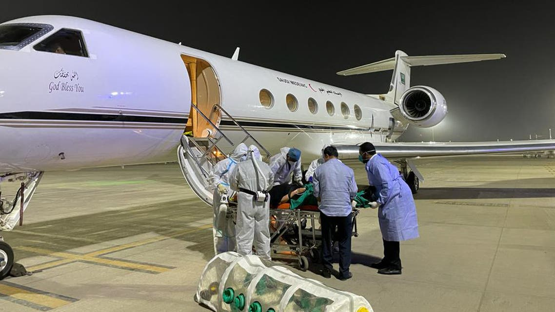 A Saudi family infected with COVID-19 was transferred to the Kingdom from India by the Air Medical Evacuation Department of the Health Services of the Kingdom's Ministry of Defense. (Via @modgovksa Twitter)