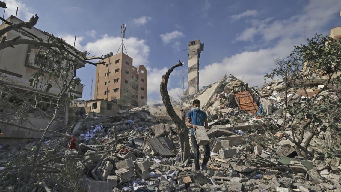 آثار الدمار بعد الصقف الإسرائيلي على غزة - فرانس برس