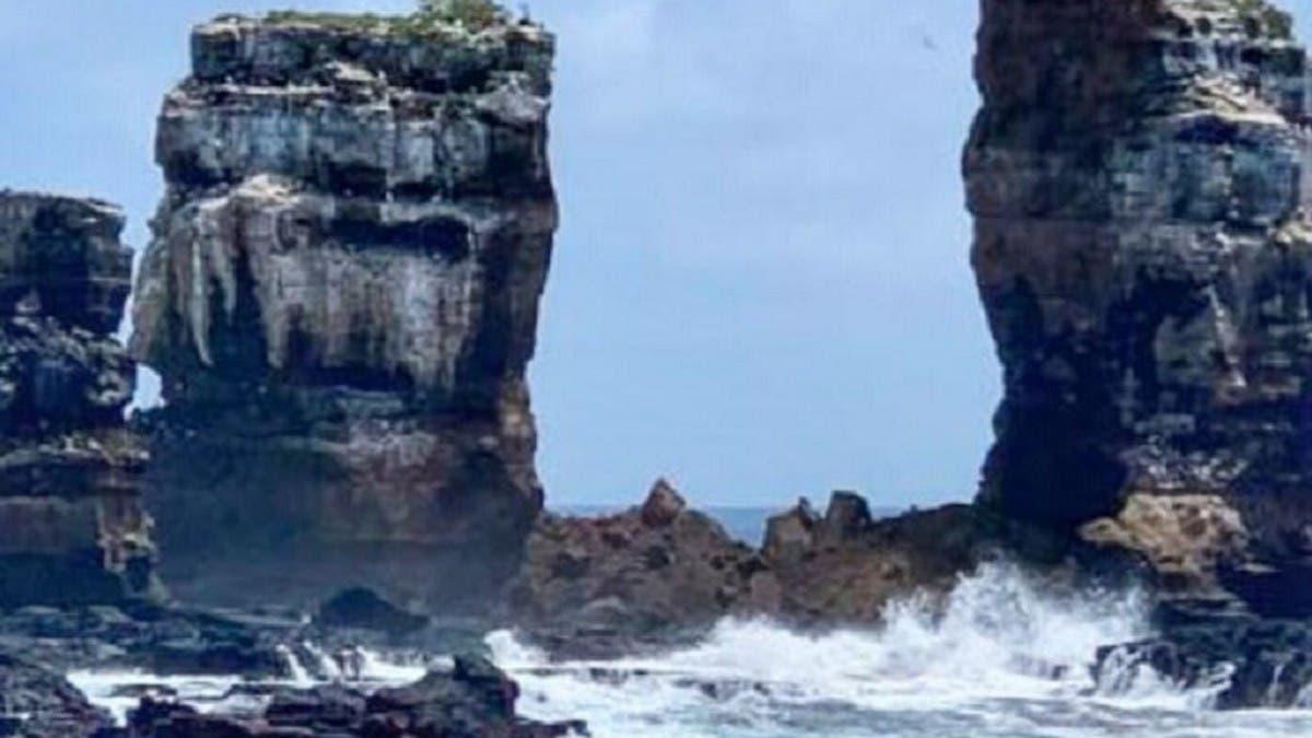 شاهد انهيار الأكثر شبهاً في العالم بصخرة الروشة في بيروت