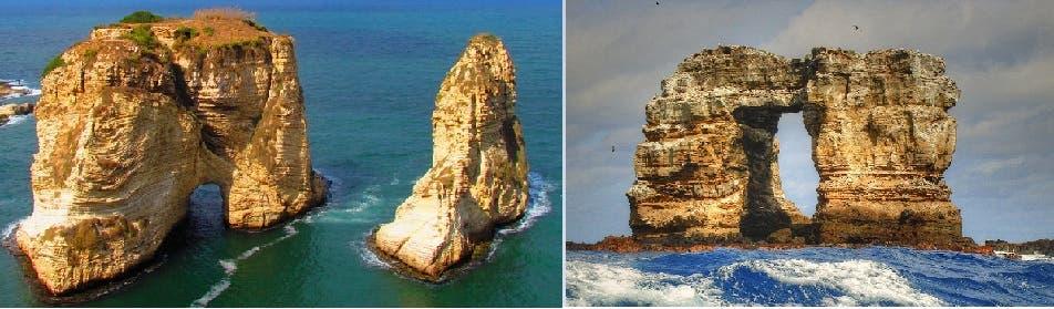 صخرة قوس داروين بالجزيرة المعروفة باسمه أيضا في الاكوادور، وصخرة الروشة في بيروت