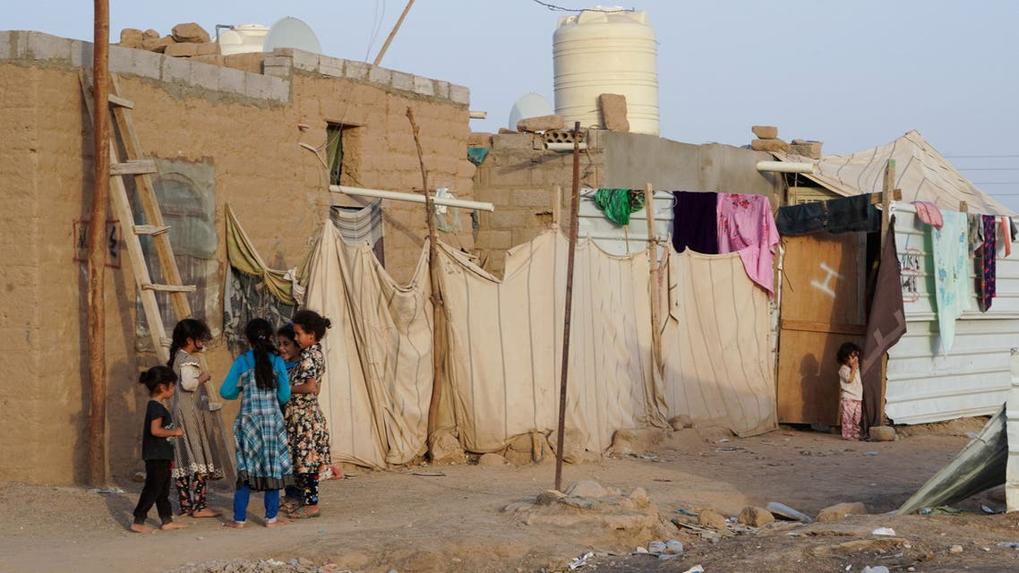 Girls play at a makeshift camp for internally displaced people (IDPs) in the oil-producing Marib province, Yemen May 10, 2021. (Reuters)