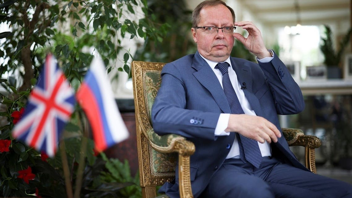 Ambassador of Russia to the United Kingdom Andrei Kelin poses inside the residence of the Russian Ambassador, following an interview with Reuters, in London, Britain, on May 20, 2021. (Reuters)