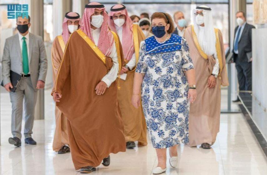 Saudi Arabia's Minister of Culture Prince Badr bin Farhan meets with Greece's President Katerina Sakellaropoulou. (SPA)
