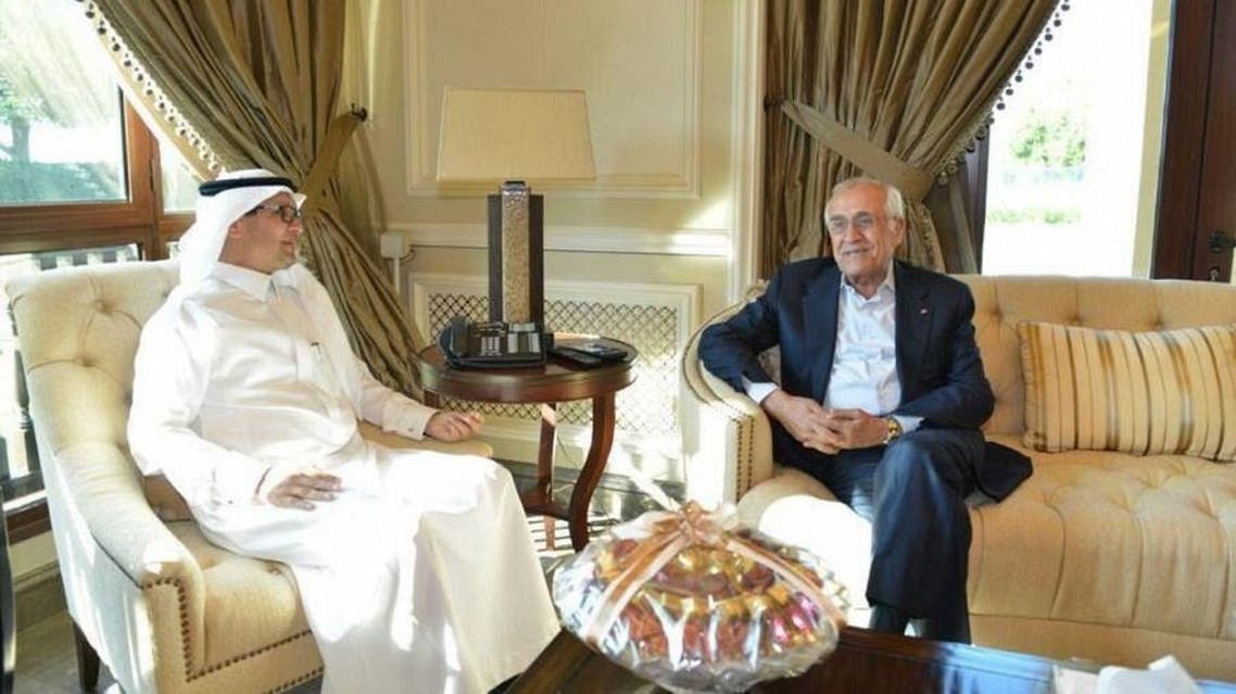 Saudi Arabia's ambassador to Lebanon Waleed bin Abdullah Bukhari receives Lebanese caretaker Minister of Interior Mohammed Fahmi. (SPA)