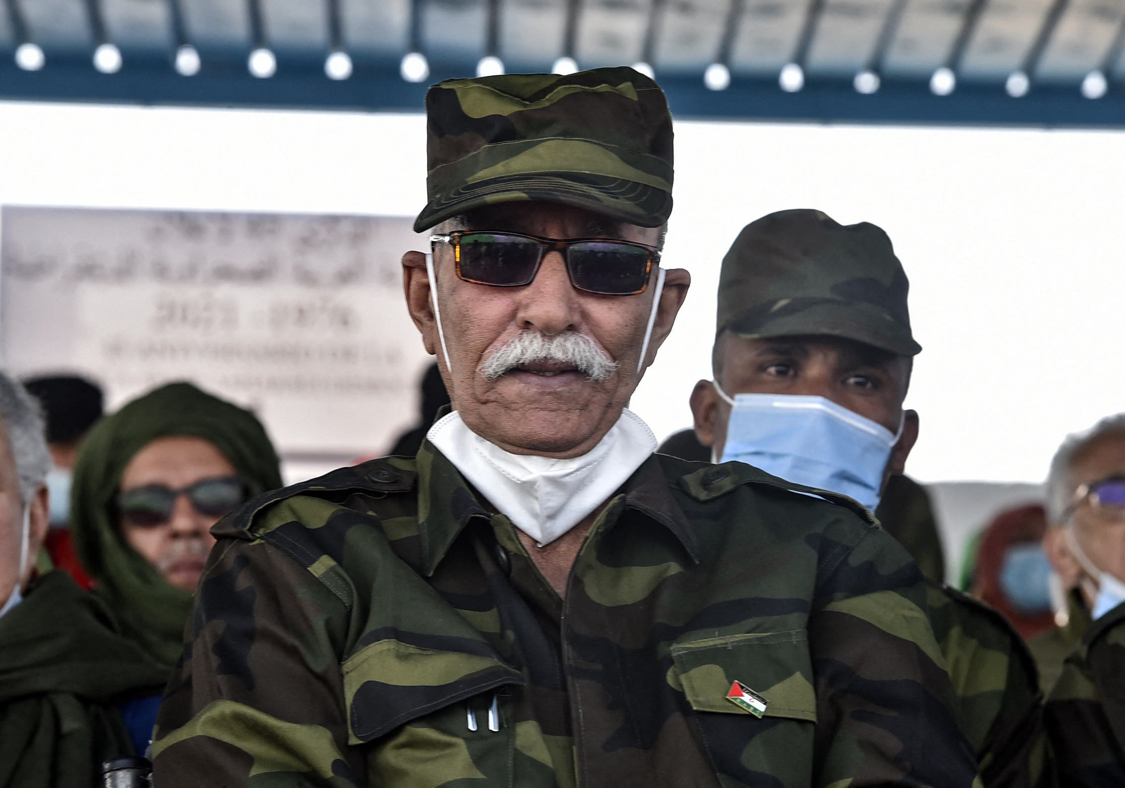 Brahim Ghali, President of the Sahrawi Arab Democratic Republic (SARD) and Secretary-General of the Polisario front, attends celebrations marking the 45th anniversary of the creation of the SARD, at a refugee camp on the outskirts of the southwestern Algerian city of Tindouf. A Spanish court has reopened a probe into accusations of crimes against humanity lodged against the leader of the Western Sahara movement, whose hospitalisation in Spain has sparked tensions between Madrid and Rabat. Brahim Ghali, who leads the Algeria-backed Polisario Front, has since mid April been treated for Covid-19 at a hospital in Logrono in northern Spain, angrying Rabat as Madrid grapples with a surge in migrants from Morocco at its north African enclave of Ceuta. (Stock image)
