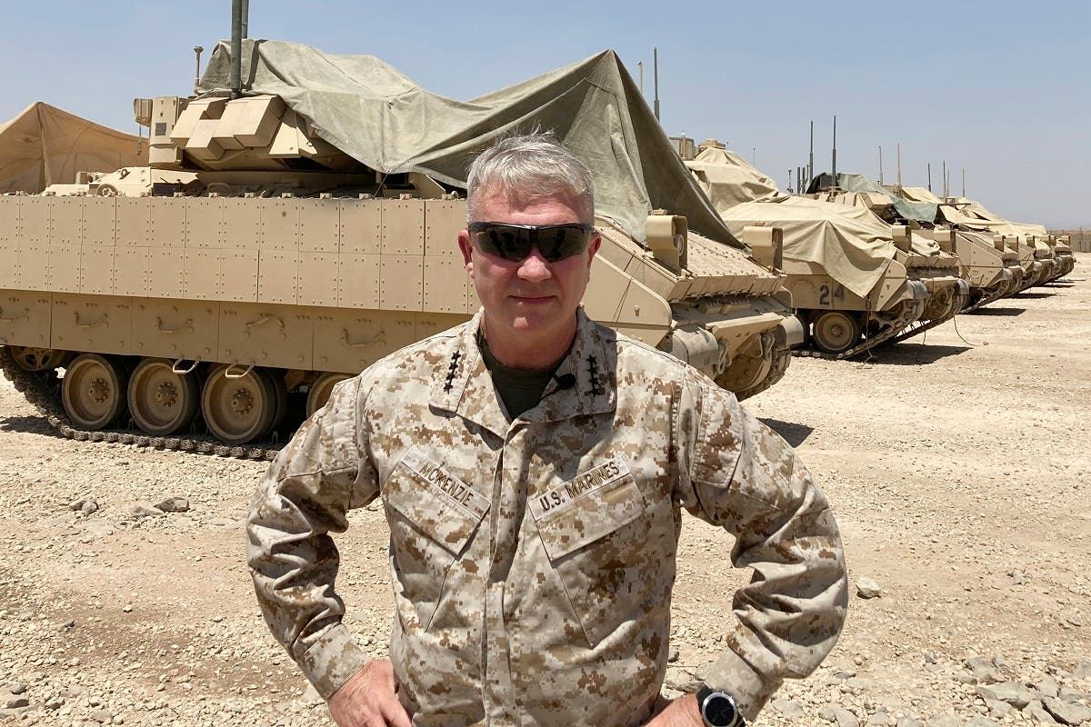 CENTCOM Gen. Frank McKenzie, the top US commander for the Middle East, speaks to the media after arriving in Syria to meet with US and allied commanders and troops, May 21, 2021. (AP)
