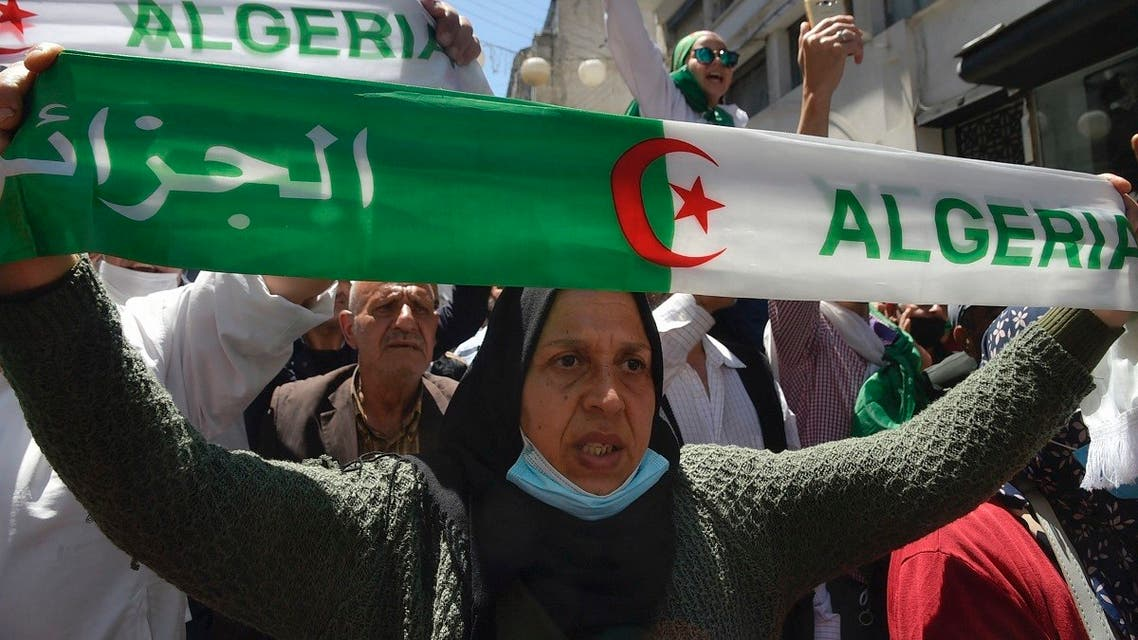Algerians shout slogans during an anti-government demonstration in the capital Algiers on May 7, 2021. (AFP)