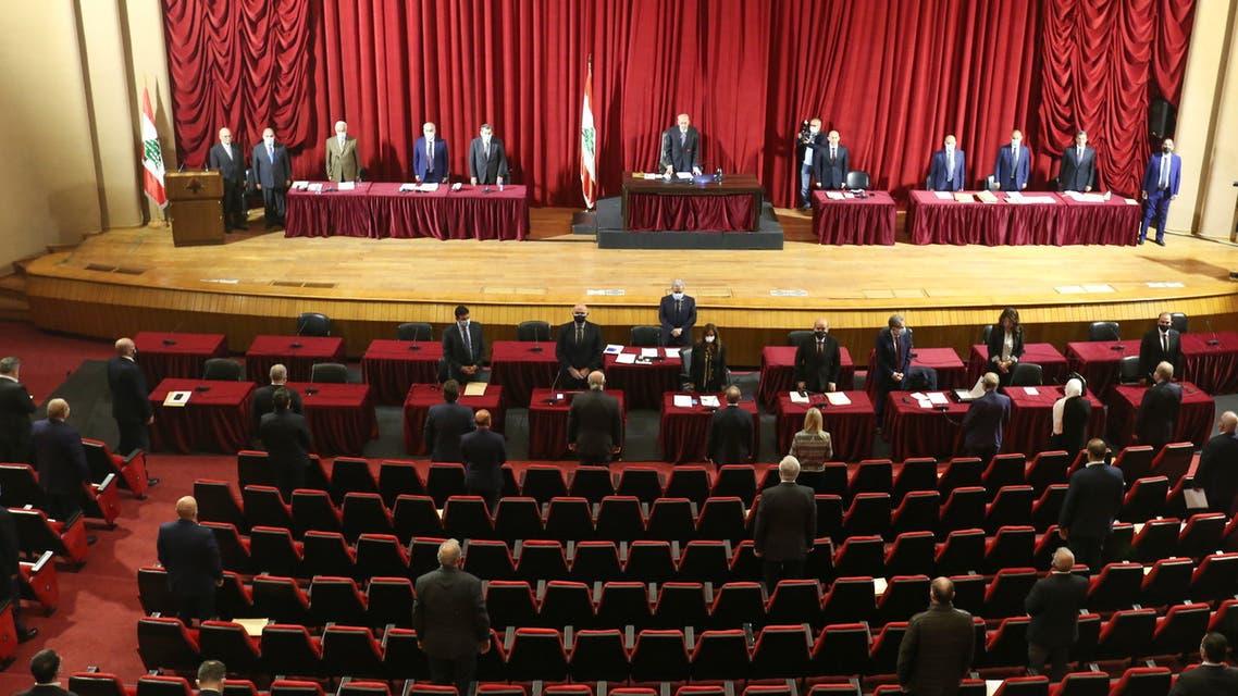 Lebanese Parliament Speaker Nabih Berri heads a legislative session at UNESCO Palace in Beirut, Lebanon March 12, 2021. REUTERS/Aziz Taher