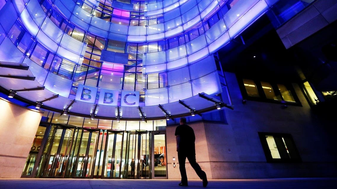 A man enters BBC New Broadcasting House in London. (Reuters)