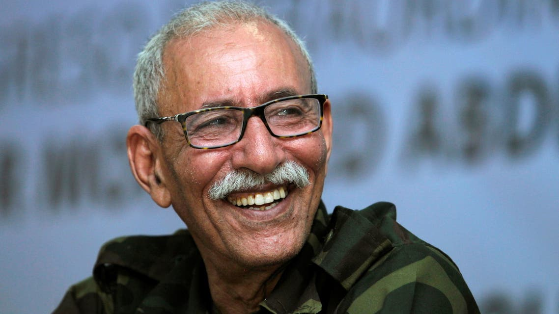 FILE PHOTO: Brahim Ghali, new secretary general of Polisario Front and president of the Sahrawi Arab Democratic Republic (SADR), reacts during an extraordinary congress at the Sahrawi refugee camp of Dakhla, southeast of the Algerian city of Tindouf, July 9, 2016. REUTERS/Ramzi Boudina/File Photo