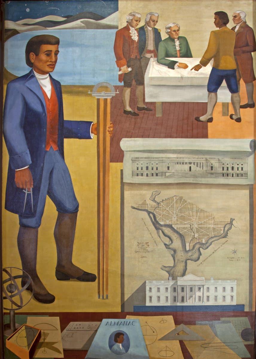 لوحة جدارية تجسد بنيامين بانكر