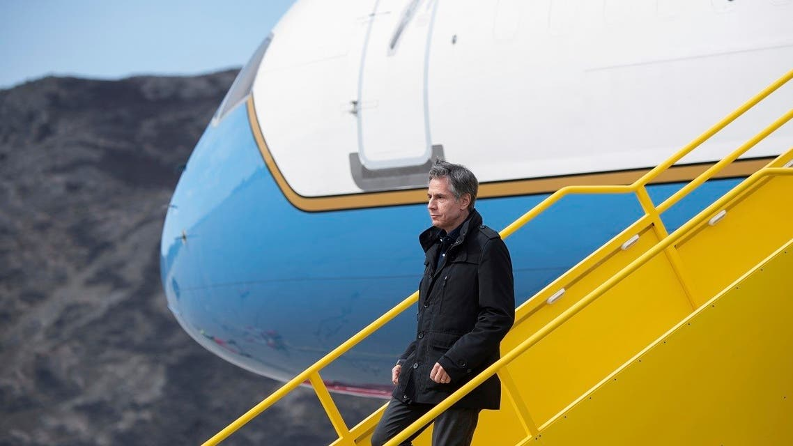 US Secretary of State Antony Blinken disembarks from his airplane upon arrival at Kangerlussuaq Airport in Greenland, May 20, 2021. (AP)