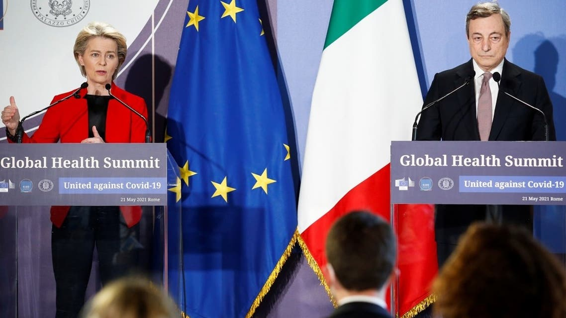 uropean Commission President Ursula von der Leyen speaks next to Italian Prime Minister Mario Draghi during a news conference at a virtual G20 summit on the global health crisis, at Villa Pamphilj in Rome, Italy, on May 21, 2021. (Reuters)