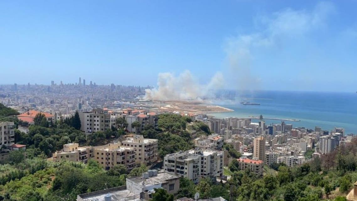 Heavy smoke is seen rising from a site at the Beirut Port, in Lebanon. (Twitter)