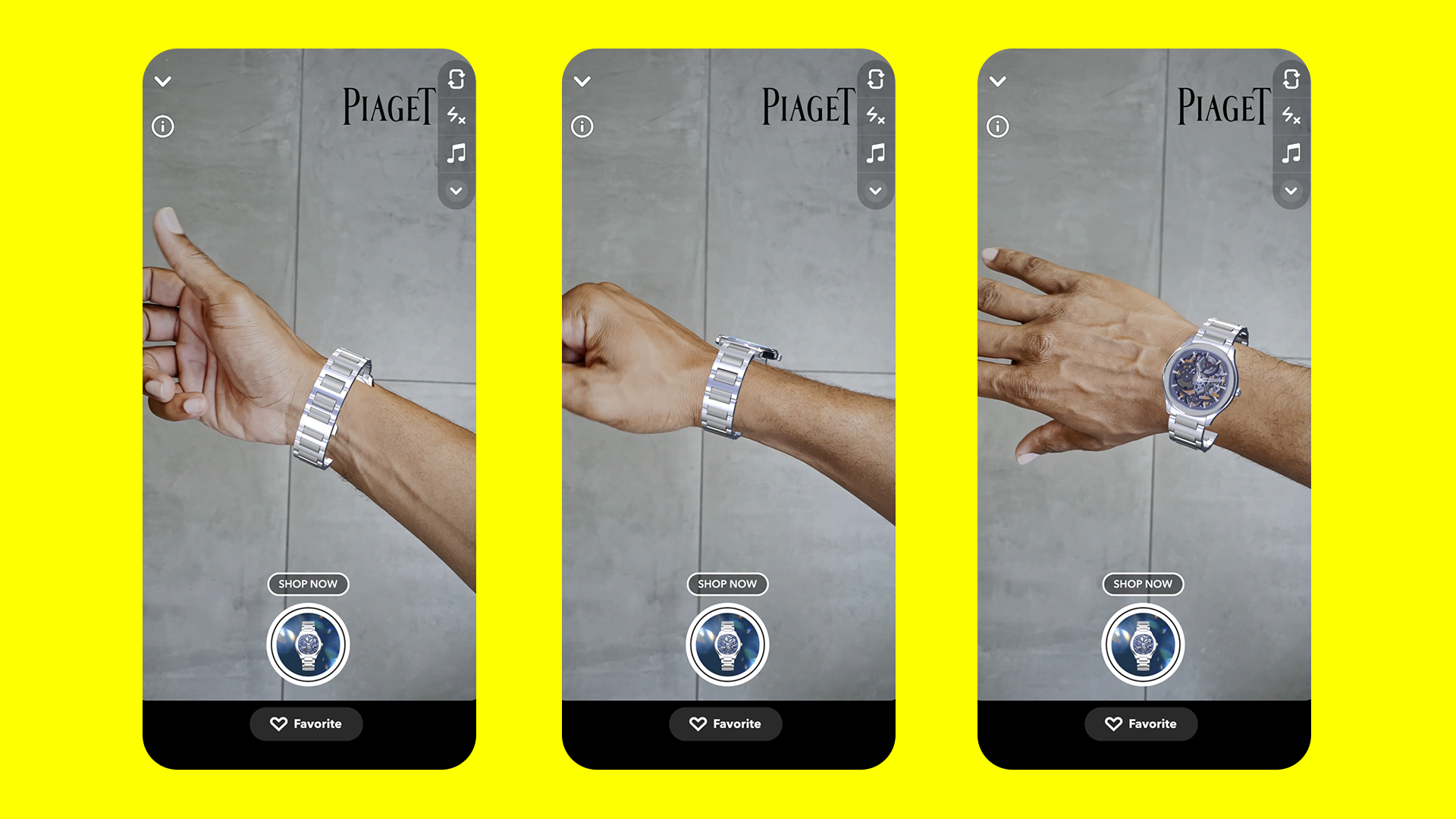 Snapchat's new e-commerce offering for 'wrist-tracking', showcasing a Piaget watch through AR technology. (Supplied)