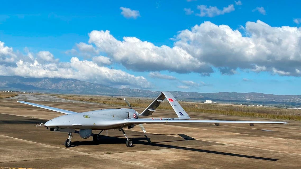 A Turkish-made Bayraktar TB2 drone is seen shortly after its landing at an airport in Gecitkala, known as Lefkoniko in Greek, in Cyprus, Monday, Dec. 16, 2019. (AP)