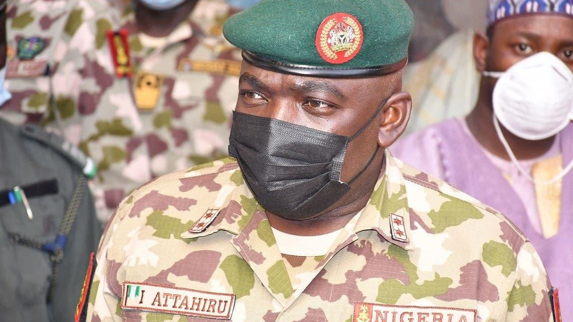 Chief of Army Staff Major General Ibrahim Attahiru is seen at the theatre command operations Lafiya Dole headquarters in Maiduguri, Nigeria, Jan. 31, 2021. (AFP)